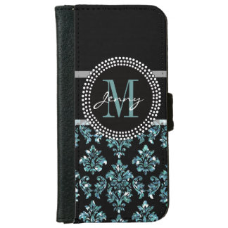 Blue Glitter Printed, Black Damask Personalized iPhone 6 Wallet Case