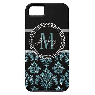 Blue Glitter Printed, Black Damask Personalized iPhone SE/5/5s Case