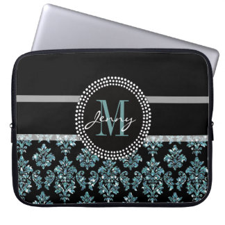 Blue Glitter Printed, Black Damask Personalized Computer Sleeves