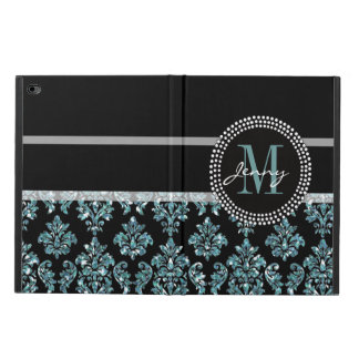 Blue Glitter Printed, Black Damask Personalized Powis iPad Air 2 Case