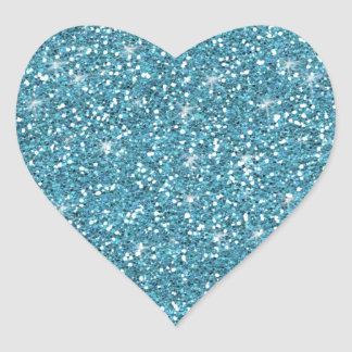 Blue Glitter Printed Heart Sticker