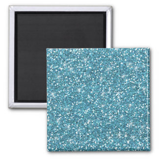 Blue Glitter Printed 2 Inch Square Magnet