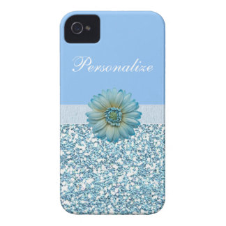 Blue Glitter, Ribbon & Flower Personalized Case-Mate iPhone 4 Case