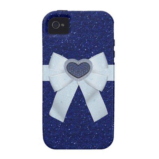 Blue Glitter & Sapphire Heart iPhone 4/4S Case