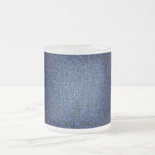Blue Glitter Sequin Frosted Glass Coffee Mug Cup