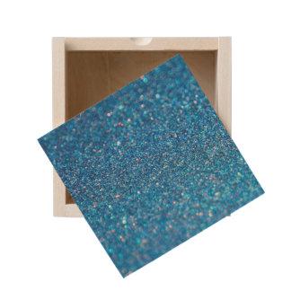 Blue Glitter Shiny Style Wooden Keepsake Box