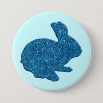 Blue Glitter Silhouette Easter Bunny Button