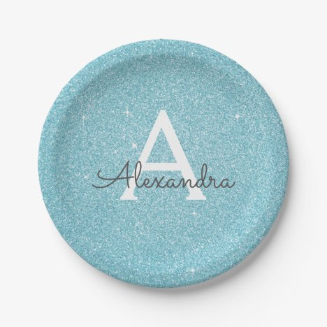 Blue Glitter & Sparkle Monogram Birthday Paper Plate