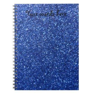 Blue glitter spiral notebook