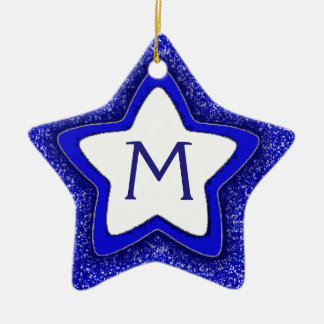 Blue glitter star customizable monogram ornament