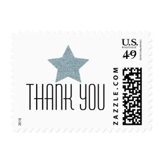 BLUE GLITTER STAR THANK YOU POSTAGE STAMP