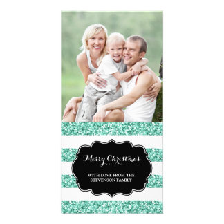 Blue Glitter Stripes Merry Christmas Photo Card