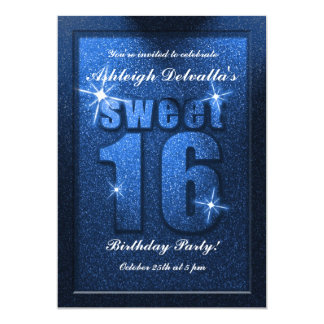 Blue Glitter Sweet 16 Birthday Party Invitation