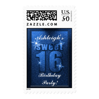 Blue Glitter Sweet 16 Birthday Party Stamps