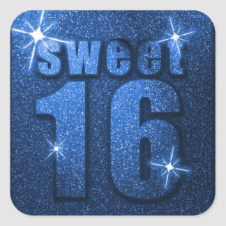 Blue Glitter Sweet 16 Birthday Party Stickers