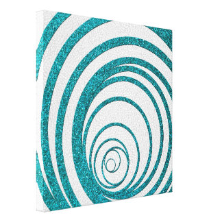 Blue Glitter Swirly Stretched Canvas Print