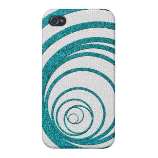 Blue Glitter Swirly iPhone 4 Cases