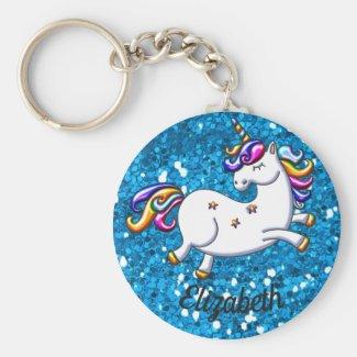 Blue Glitter Unicorn Keychain