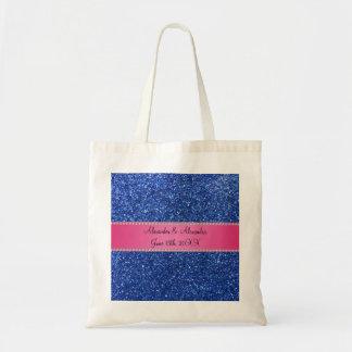 Blue glitter wedding favors budget tote bag