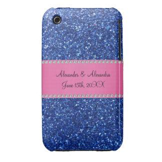 Blue glitter wedding favors iPhone 3 Case-Mate cases