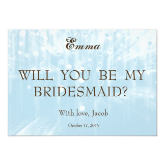 Blue Glitter Will You Be My Bridesmaid Invitation