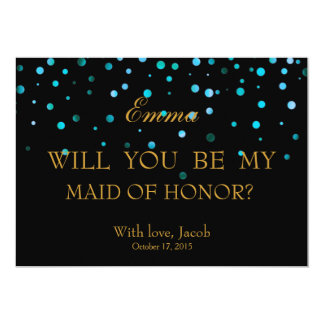 Blue Glitter Will You Be My MAID OF HONOR Card