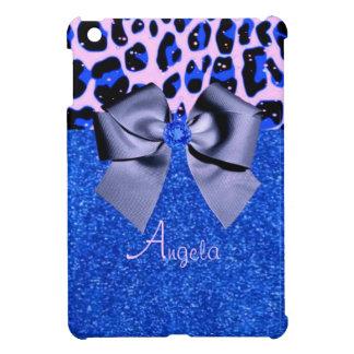 Blue Glitters and Leopard Print iPad Mini Cases