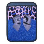 Blue Glitters and Leopard Print iPad Sleeves