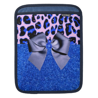 Blue Glitters and Leopard Print Sleeves For iPads