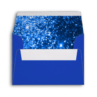 Blue Glittery Lined Inside Envelope