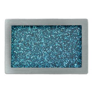 Blue Glittery Pattern Rectangular Belt Buckle