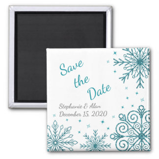 Blue Glittery Snowflake Winter Save The Date Magnet