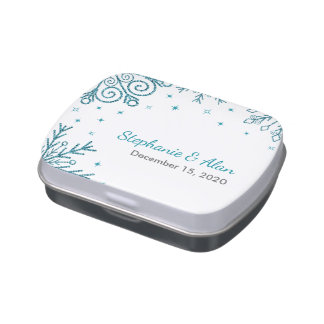 Blue Glittery Snowflakes Winter Wedding Jelly Belly Candy Tins