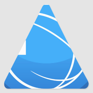 Blue Global Exit Button Icon Triangle Sticker