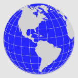 Blue Globe Classic Round Sticker