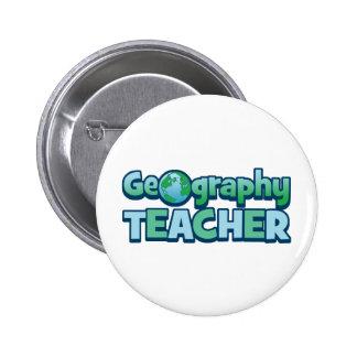 Blue Globe Geography Teacher Button