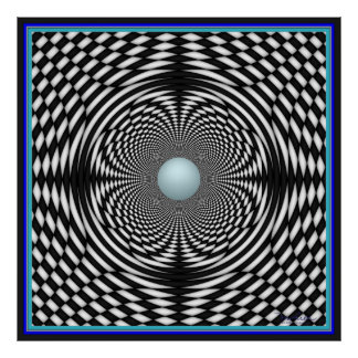 Blue Globe in Rotating Curved Space Poster