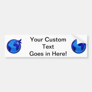 blue globe  reflective earth design.png bumper stickers