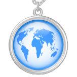 Blue Glossy Globe Round Pendant Necklace