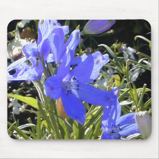 Blue Glow Flower Mouse Pad