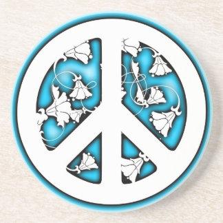 Blue Glow Flower Peace Symbol Coasters
