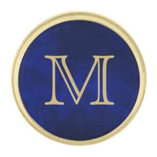Blue Glow Gold Monogram Gold Finish Lapel Pin