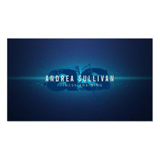 Blue Glow Grunge Monogram Trainer Business Card