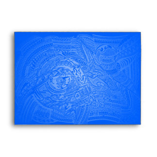 Blue Glow Hand-drawn Crazy Tribal Doodle Envelope