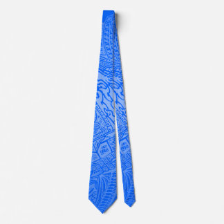 Blue Glow Hand-drawn Crazy Tribal Doodle Neck Tie