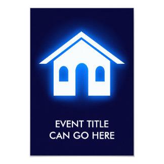 "blue glow home 3.5"" x 5"" invitation card"