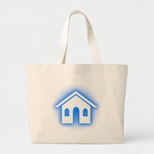 blue glow home large tote bag
