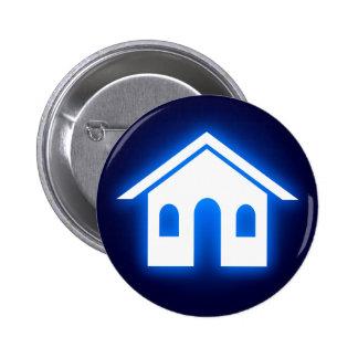 blue glow home pinback button
