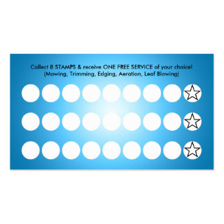 blue glow lawn mowing loyalty business card template