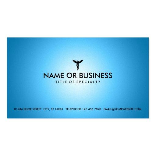 blue glow medical caduceus business card